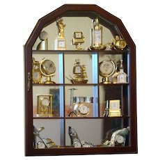 Collectible miniature clocks(26p) in wood box/display cabinet-miniature clocks