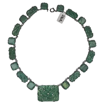 Art Deco 1930's French green art glass necklace sterling silver