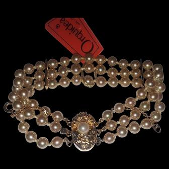 Majorica Simulated  Pearl Triple Strand bracelet w Sterling catch 4mm pearls