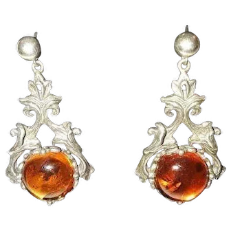 Amber and Sterling Art Nouveau Style earrings pierced.
