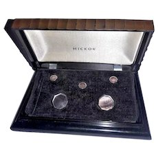 Antique art deco   men's cufflink and stud set in  original celluloid box  Hickok