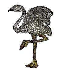 Celluloid art deco flamingo pave rhinestone pin 1920's