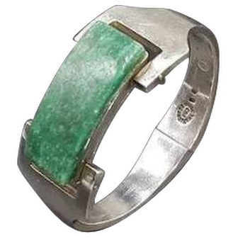 Mid Century jade sterling Mexican bracelet signed crr 1950's