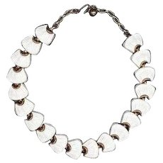 Trifari necklace goldtone with white lucite molded panels