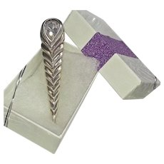 1980's Sterling Chevron Design Pin With Large Stone