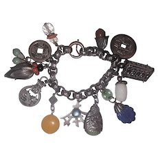 Vintage Napier Charm Bracelet  Asian  Money Lotus , and other cool charms