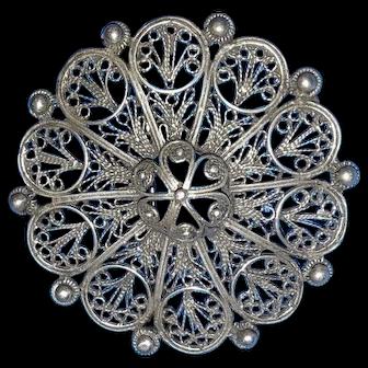Vintage Filigree  Sterling Pin / Necklace  Magnificent  Work