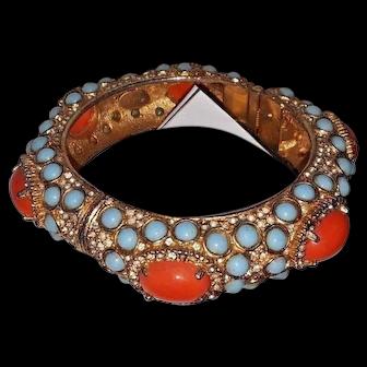 "K.J.L. bracelet ""faux coral, turquoise"" and rhinestone bracelet 1960's clamp"
