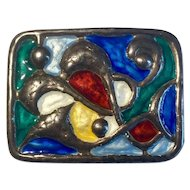 Modernist c1950 Oystein Balle Norway Vintage Silver and Enamel abstract pin brooch 40mm x 30mm