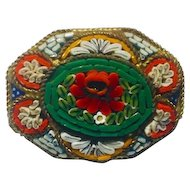 "Italian Glass Millefiori Mosaic Brooch 1950's 30mm x25mm marked ""Italy"""
