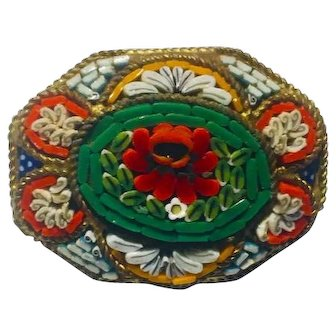 "Italian Glass Millefiori Mosaic Brooch 1950's 30mm x25mm marked ""Italy"""