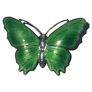 David Andersen Norway Silver and Enamel Butterfly Brooch c1935 40mm x30mm