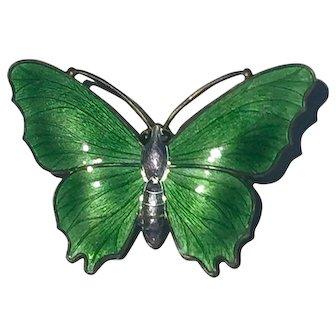 David Andersen Norway Silver and Enamel Butterfly Brooch c1935 40mm x30mm