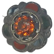 Victorian Late C19th Scottish Agate ( Pebble ) and Citrine Brooch in engraved mount 40mm x 15mm excellent condition
