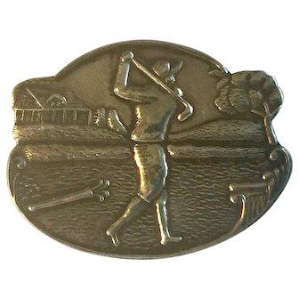 An Original Art Deco Brooch Sterling Silver 925 Lady Golfer