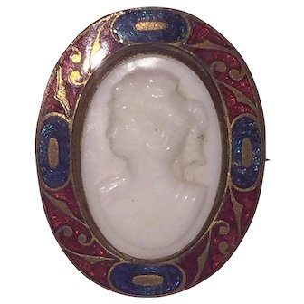 Victorian 19th Century Milk Glass and Enamel Cameo Brooch