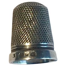 """Late Victorian Silver Thimble Hallmark and Maker's Mark """"A.S"""" 20mm x 15mm"""