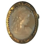 A shell and gold plated cameo brooch marked gold plated 40mm x 30mm