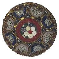 Italian Glass Millefiori Mosaic Brooch 1950's 30mm diameter