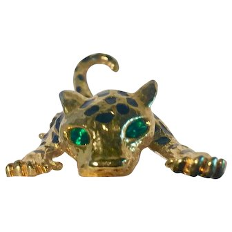 1980's Costume Jewellery Leopard Gilt and Enamel with Green Diamante Eyes 130mm x 40mm
