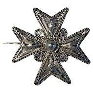 Silver Filigree Maltese Cross 30mm x 30mm