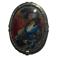 "1950's Vintage Silver and Rhodium Cameo Style Brooch Marked ""After Gainsborough"" 60mm x 50mm"