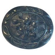 Victorian Whitby Jet Mourning Brooch Floral Design in stylised fern frame 50mm x 40mm