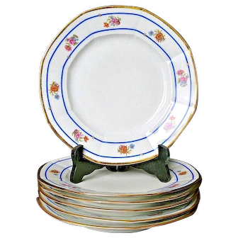 Wonderful set 6 Antique French Limoges Plate, c.1890, by William Guerin,