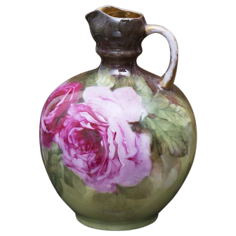 Antique Gorgeous Limoges Floor Vase Covered in Large Pink Roses on Stem and Leaf