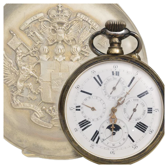 Beautiful and rare antique oversized pocket watch with month / day of month / day of week / moon phase indication.