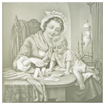 Rare Antique French Lithopane of Mother and child scene with makers signature, c.1885