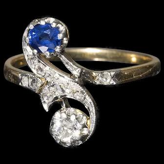 French Vintage TOI & MOI / You & Me / Diamonds Sapphire 18k Gold Ring