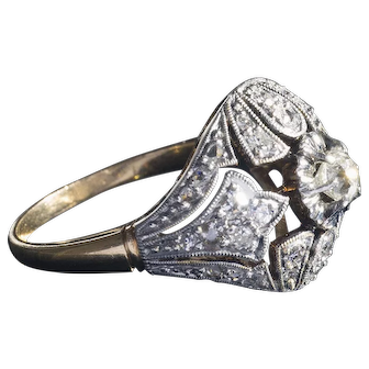 Wonderful  Art Deco 18k Gold & Platinum Diamond Cocktail Ring