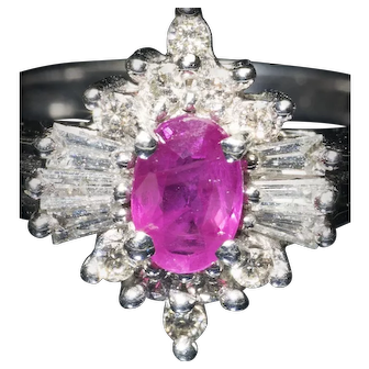 Vintage Art Deco White Gold Ruby & Baguette Diamonds Oval Gatsby Ring
