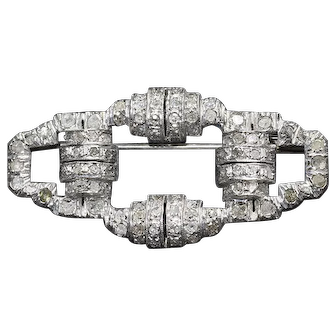 French Art Deco 800/1000 Silver and Diamonds Brooch