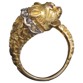 Vintage Unusual 18k Gold Chymera Head Ring by Zolotas