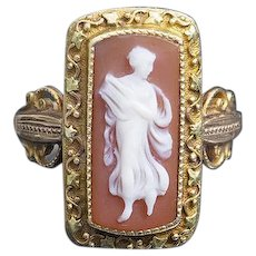 Antique Very Beautiful and rare Carnelian Cameo Sold Gold 18K Ring with a very fine scenic carving of a  Lady Playing Harp