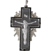 Vintage Beautiful piece of French jewellery cross pendant  from Art Deco epoch, circa 1920s