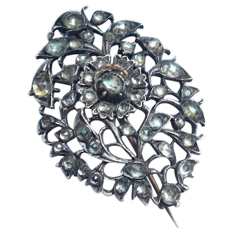 Antique Georgian Sterling Silver Paste Brooch French Pin