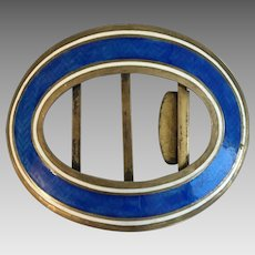 Antique Edwardian 1908 Guilloche Enamel Buckle