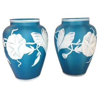 Antique Prussian Blue Two Layer Cameo Glass Vase Set