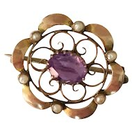 Antique Edwardian 9kt Gold Amethyst and Pearl Pin