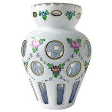 Bohemian Cased Milk Glass Cut to Clear Vase Enamel Flowers