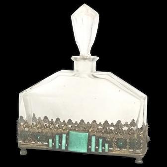 Vintage Czech Filigree Metal and Glass Jade Stones Perfume Bottle