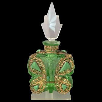 Vintage Art Deco Czech Glass Butterfly Perfume Bottle