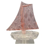 Vintage Czech Crystal and Pink Cut Glass Sailboat Perfume Bottle
