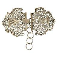 Antique 1895 William Comyns Cherub Rococo Sterling Silver Buckle