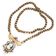 Antique Victorian Gold Cameo Bookchain Necklace Memorial Memento Mori Locket