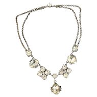 Vintage Art Deco Foil Backed Paste Rhinestone Silver Festoon Necklace