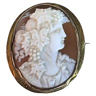 Antique Victorian Gold Carved Sardonyx Helmet Shell Classical Greek Goddess Cameo Brooch Pin Pendant